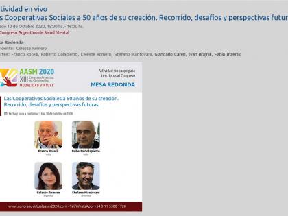 XIII Congreso Argentino de Salud Mental – Tavola rotonda Las Cooperativas Sociales a 50 años de su creación