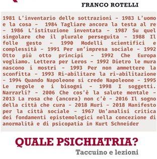 """Presentazione del nuovo libro di Franco Rotelli """"Quale psichiatria?"""" alla Scuola di filosofia di Trieste."""