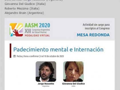 XIII Congreso Argentino de Salud Mental – Tavola rotonda Padecimiento mental e Internación
