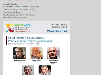 XIII Congreso Argentino de Salud Mental – Tavola rotonda Salud Pública y salud Mental